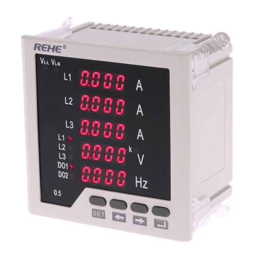 Buy 96*96mm Multi-functional 3 Phase AC Current Voltage Frequency Panel Meter Ammeter Voltmeter Ratio Programmable AC5A AC450V 50Hz