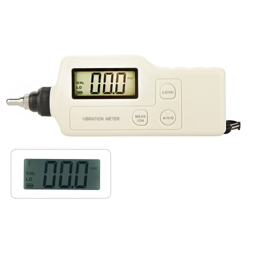 GM63A Portable Digital Vibrometer Vibration Analyzer Tester Meter with LCD Backlight & AC Output E0307
