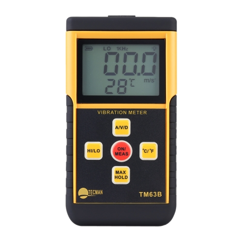 Portable Digital Vibrometer Vibration Analyzer Tester + Temperature Meter with LCD Backlight Maximum Value Hold Function E0795