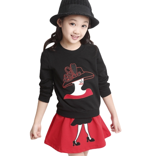 Cute Character Patchwork Long Sleeve Sweatshirt Mini Skirt Girls Twinset G5047B140