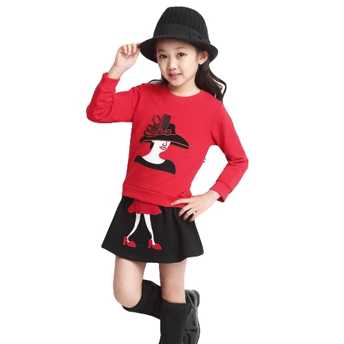 Cute Character Patchwork Long Sleeve Sweatshirt Mini Skirt Girls Twinset G5047R120