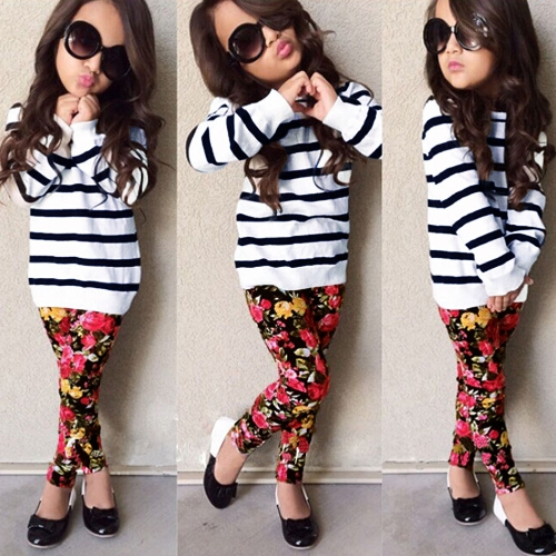 Buy Girls Kids T-Shirt Top Trousers Pants Stripes Floral Print O Neck Elastic Waistband Cute Casual Children Two-Piece Set White