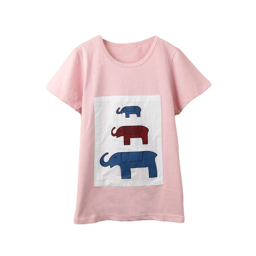 Buy Kids Baby Girls Boys Cute T-shirt Elephant Pattern Print Round Neck Short Sleeve Children Tops Pink