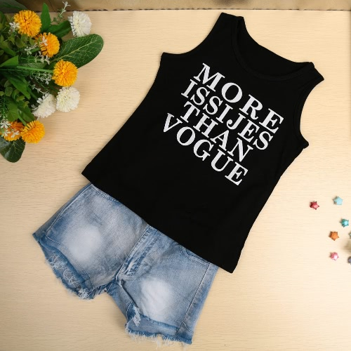 Buy Summer Baby Kids Two-Piece Set Letter Print Round Neck Sleeveless Elastic Waist Suit Outfits Black