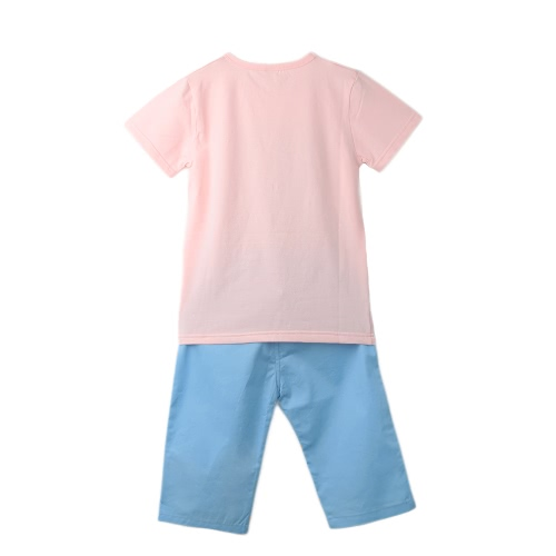 Buy Boys Kids Two-Piece Set Geometric Pattern O-Neck Short Sleeves T-Shirt Elastic Waist Trousers Casual Suit Pink