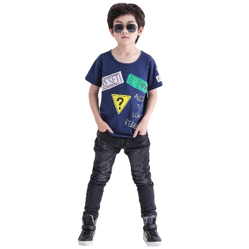 Buy Fashion Boys Kids T-Shirt O-Neck Short Sleeves Letter Print Patch Design Casual Top Tee