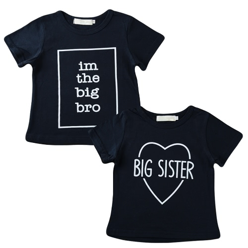 New Girls Kids T-shirt Top Letter Print O-Neck Short Sleeve Pullover Cute Casual Children Shirt Dark Blue