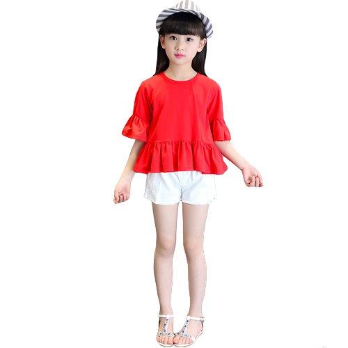 Buy Sweet Cute Kids Baby Girl Cotton T-Shirt O-Neck Flare Sleeve Ruffles Hem Casual Tee Tops Red