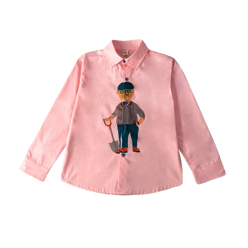 Buy Boys Kids Top Cartoon Old Man Print Button High-Low Hem Long Sleeve Cute Loose Casual Children Shirt White/Pink