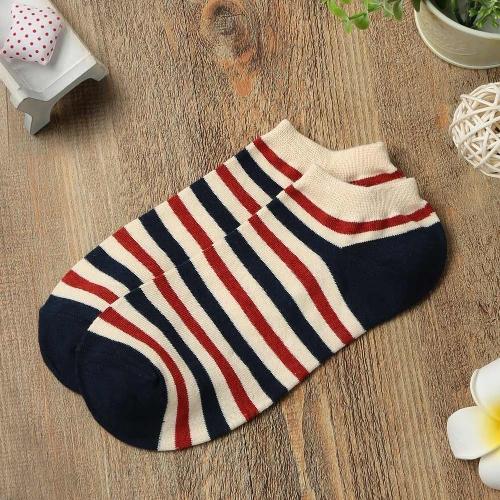 Fashion Men Women Ankle Socks Contrast Flag Stripe Star Thin Breathable Stretch Boat Sock Slippers