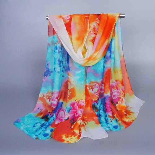 New Fashion Women Scarf Chiffon Floral Print Color Block Soft Long Spring Autumn Pashmina