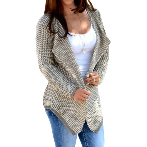 New Autumn Winter Women Knit Coat Knitwear Sweater Lapel Long Sleeve Loose Causal Knitted Cardigan Khaki/Black