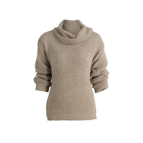 New Women Turtleneck Knitted Sweater Stripes Pullover Long Sleeve Dropped Shoulder Split Loose Knitwear Jumper Top Khaki