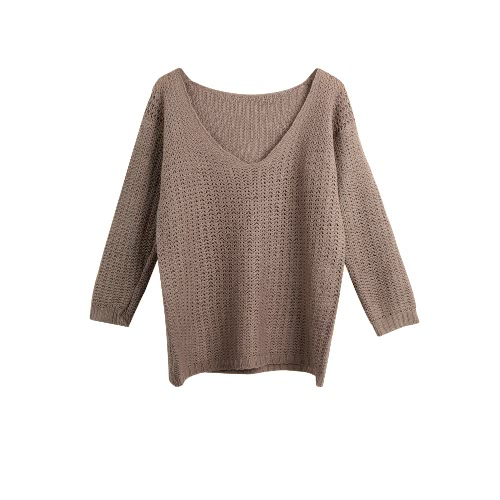New Women Knitted Sweater Hollow Out See-Through V-Neck Long Sleeves Casual Pullover Knitwear Top Khaki