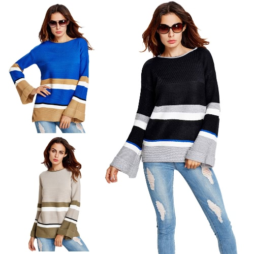 New Autumn Women Knit Sweater Contrast Color Stripe Long Flare Sleeve O-Neck Casual Pullover Knitwear Tops Black/Blue/khaki