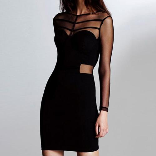 Sexy Women Mini Dress Mesh Splice Hollow Out Zipper Bodycon Dress Party Clubwear Black G1685B