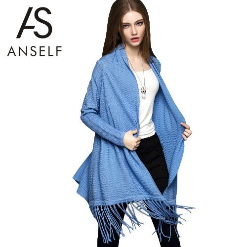 New Women Knitted Outerwear Open Front Tassel Irregular Hem Long Sleeves Elegant Loose Cardigan Coat