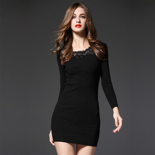 Anself Sexy Ribbed Long Sleeve Knit Lace Mini Dress for Women G2264B