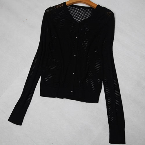 New Fashion Women Knitted Cardigan Mesh Hollow Out Button Front Long Sleeve Solid Slim Outerwear Knitwear Blouse Tops G2540B