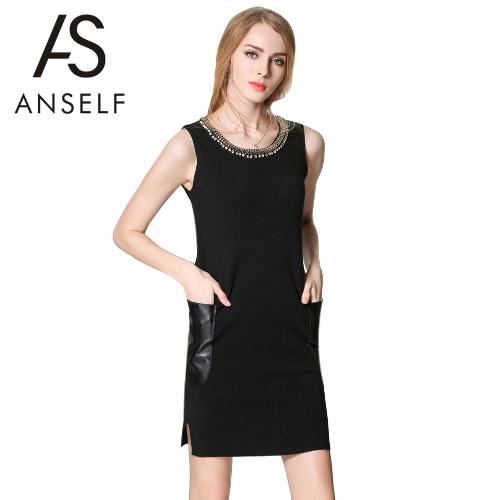 Buy Fashion Women Mini Dress O-Neck Sleeveless Bead Rhinestone PU Leather Pockets Knitted Black