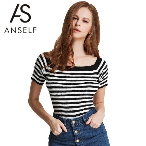 New Fashion Women Knitted T-Shirt Stripe Contrast Color Slash Neck Short Sleeve Slim Top Tee Blouse Black G2618B