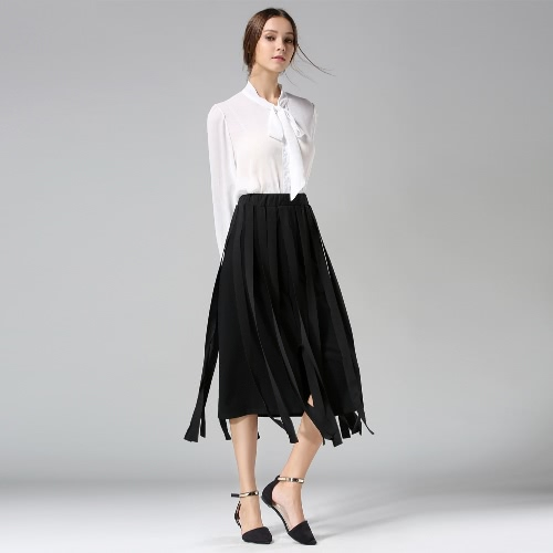 Buy Fashion Women Midi Skirt Tassel Fringe High Waist Split Solid OL Slim A-Line Long White/Black