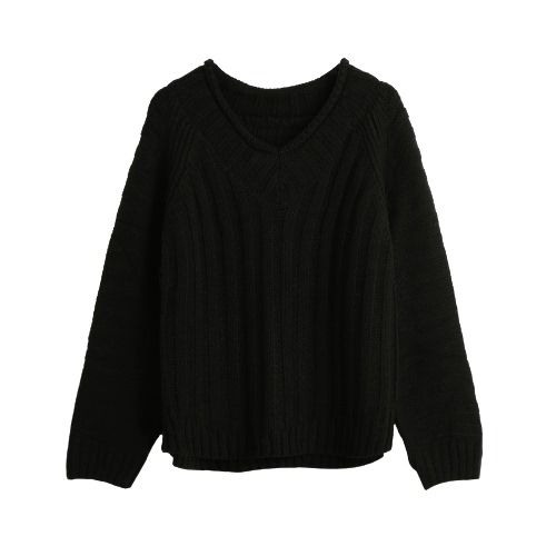 Casual Vertical Horizontal Stripes V Neck Raglan Sleeve Warm Knitted Sweater for Women G3076B