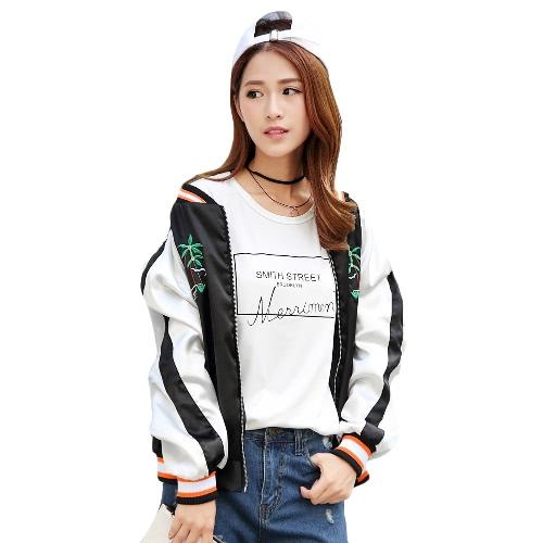 New Fashion Women Embroidered Bomber Jacket Zip Fastening Baseball Satin Uniform Vintage Coat Black G3099B