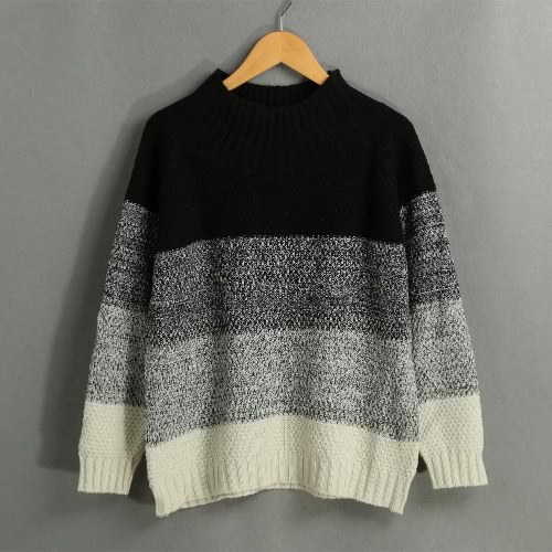 Casual Contrast Color Block Long Sleeve Women's Loose Knitted Sweater