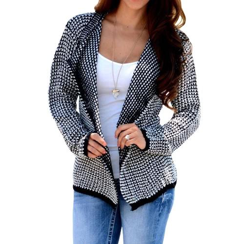 New Autumn Winter Women Knit Coat Knitwear Sweater Lapel Long Sleeve Loose Causal Knitted Cardigan Khaki/Black G3229B
