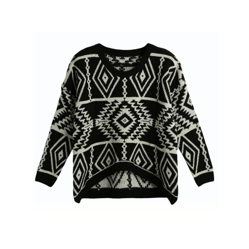 New Women Knitted Sweater Geometric Print High-Low Hem Long Sleeve Vintage Warm Pullover Tops Knitwear