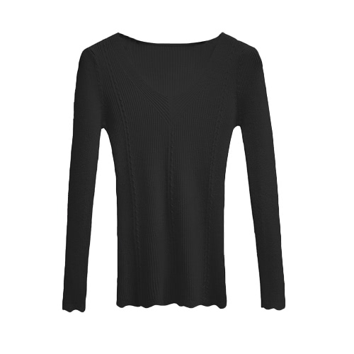 New Fashion Women Knitted Sweater Ribbed Knit V Neck Long Sleeve Solid Color Slim Top Knitwear