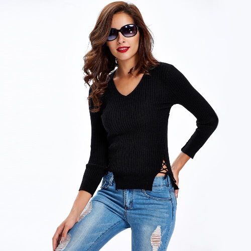 New Fashion Women Knitted Sweater Lace Up Sides Long Sleeve V Neck Solid Slim Top Knitwear Black/White/Grey