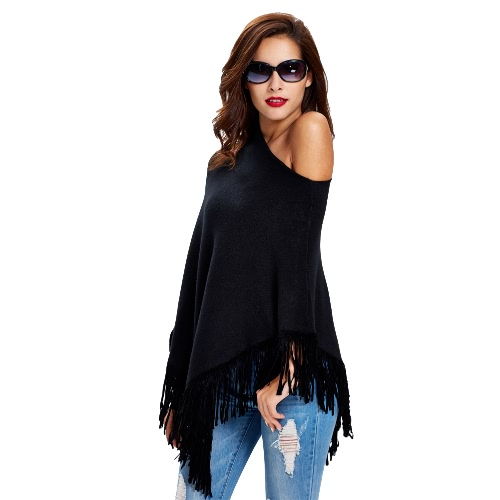 New Fashion Women Knitted Poncho Cape Tassels Fringed Asymmetric Hem Solid Warm Cloak Pullover Sweater Knitwear