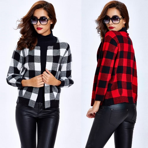 New Winter Women Knitted Coat Sweater Cardigan Contrast color Plaid O-Neck Pocket Long Sleeve Short Coat Outerwear Sweater Tops Red/BlackKnitwear<br>New Winter Women Knitted Coat Sweater Cardigan Contrast color Plaid O-Neck Pocket Long Sleeve Short Coat Outerwear Sweater Tops Red/Black<br><br>Blade Length: 30.0cm