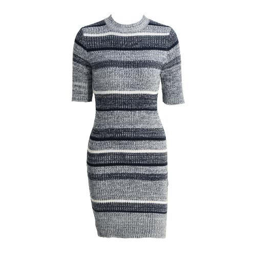 Women Knitted Striped Dress Bodycon Half Sleeves Ribbed Stretchy Long Sweater Jumper Dress Dark Blue