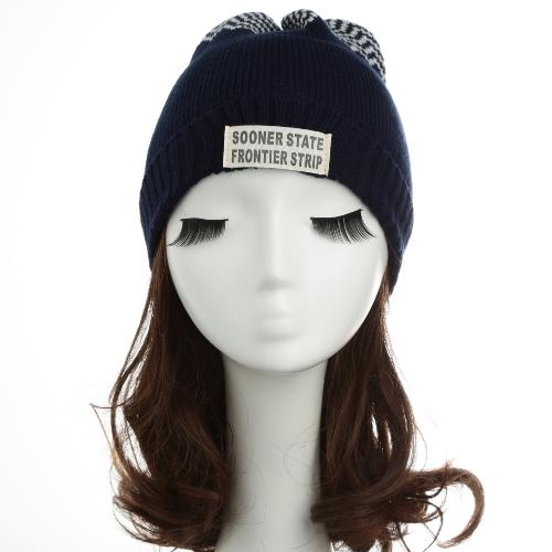 New Women Men Knitted Beanie Hat Letter Wave Stripe Round Top Turn-up Warm Dance Cap