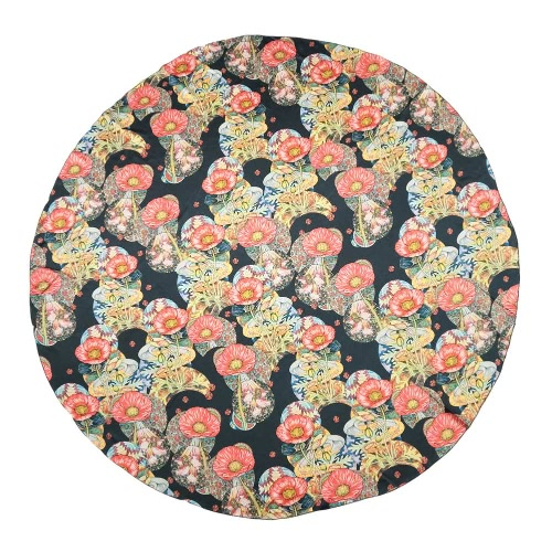 New Fashion Women Beach Towel Satin Polyester Floral Print Color Block Round Shape Boho Style Blanket