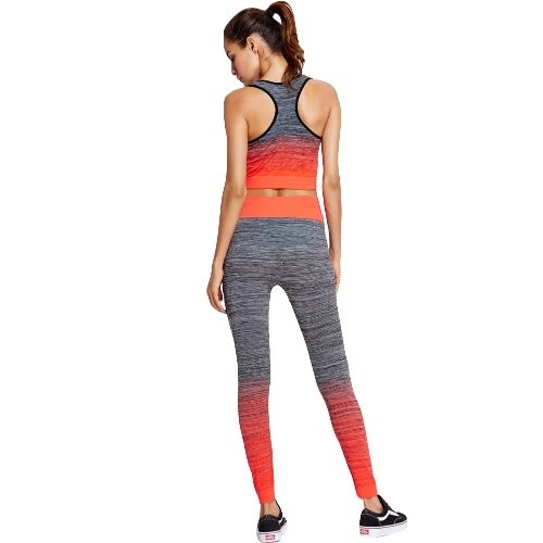 Fashion Women Yoga Sports Suit Gradient Color Racer Back Leggings Gym Running Fitness Two-piece SetBlazers &amp; Coats<br>Fashion Women Yoga Sports Suit Gradient Color Racer Back Leggings Gym Running Fitness Two-piece Set<br><br>Blade Length: 21.0cm