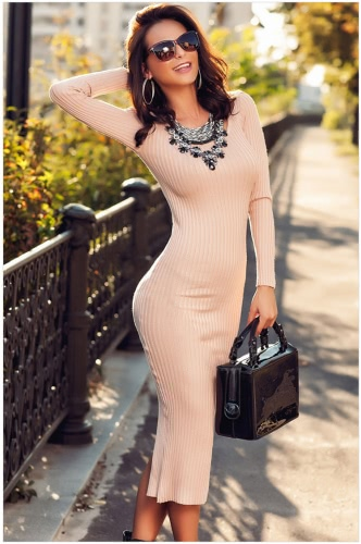 Sexy Split Back Ribbed O-Neck Long Sleeve Bodycon Midi Sweater Dress for Women G1826BE