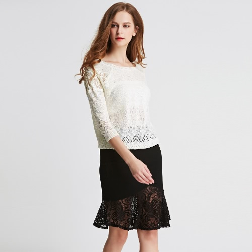 New Fashion Women Knitted Top Crochet Lace Mesh Patch Hollow Out 3/4 Sleeve Casual Loose Pullover Top G2608BE