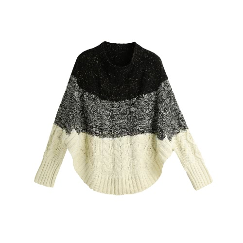 New Fashion Women Knitted Sweater Contrast Color Bat Sleeve Irregular Hem Loose Warm Pullover Jumper Tops Beige/Black G2997BE
