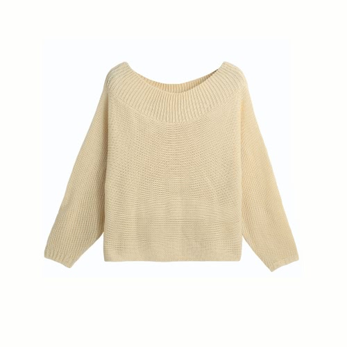 New Women Knitted Sweater Solid Color Bat Long Sleeve Loose Warm Pullover Tops Knitwear Beige G3269BE