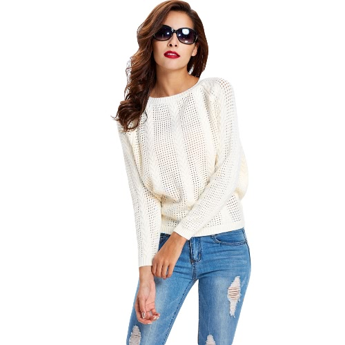 New Women Knitted Sweater Solid Color Hollow Out Round Neck Long Sleeve Warm Pullover Tops Knitwear G3317BE