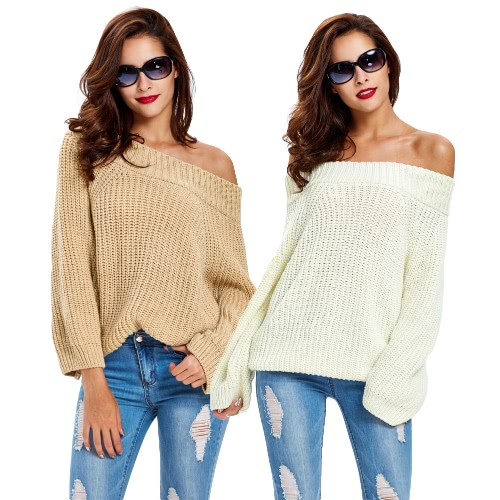 New Fashion Women Knitted Jumper Solid Ribbed Multi Ways Long Sleeve Casual Sweater Beige/Yellow