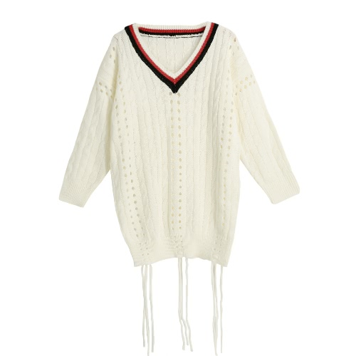 New Fashion Women Long Sleeve Knitted Sweater V Neck Hollow Out Loose Pullover Top Knitwear Beige