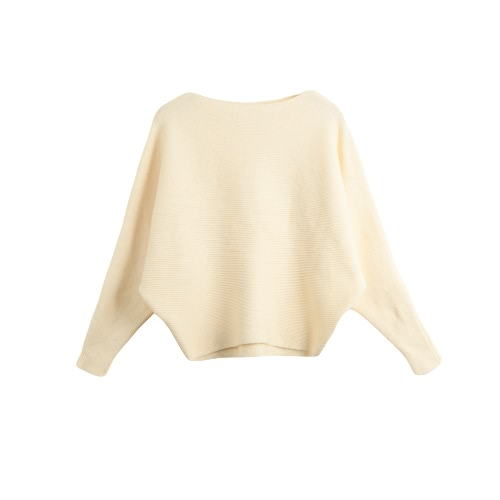 Fashion Women Long Sleeve Solid Color Sweater Knitted Pullover Batwing Sleeve Casual Slash Neck Knitwear Top