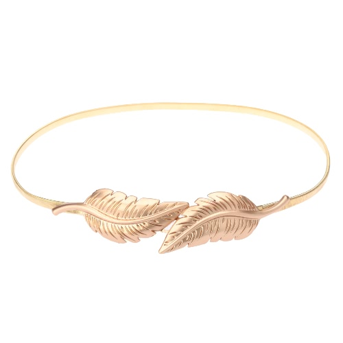 New Fashion Women Belt Leaf Clasp Front Stretch Spring Waist Strap Elastic Waistband Gold GA0186G