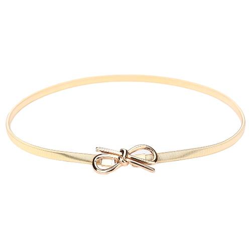 New Fashion Women Belt Bow Clasp Front Stretch Skinny Elastic Belt Bowknot Waist Strap Gold/Silver GA0203G