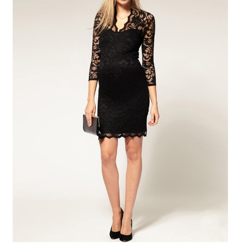 Womens Lace Dress Scalloped Neck 3/4 Sleeve Cocktail DressDresses<br>Womens Lace Dress Scalloped Neck 3/4 Sleeve Cocktail Dress<br><br>Blade Length: 29.0cm